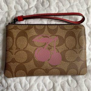 NWT Coach wristlet wallet, cherry 🍒 design